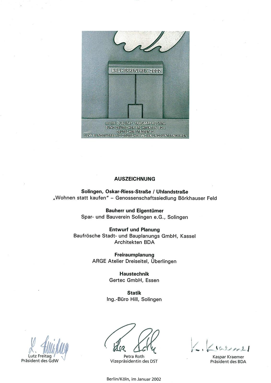 Deutscher Bauherrenpreis 2002: Wohnen statt kaufen - BAUFRÖSCHE ...